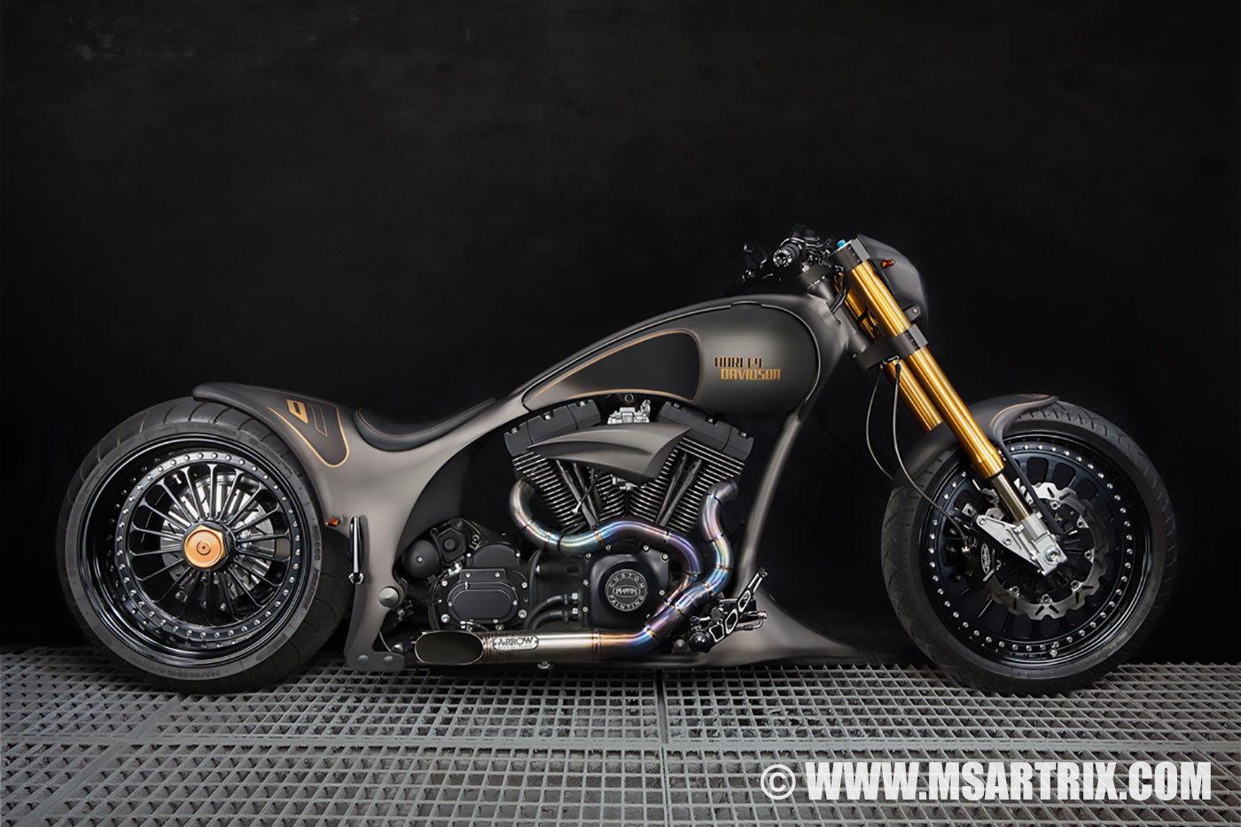 Black Gold Custom Harley Davidson Bikes Ms Artrix Design